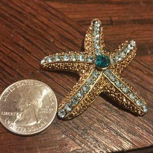 Vintage Jewelry - Starfish pendant with blue stones